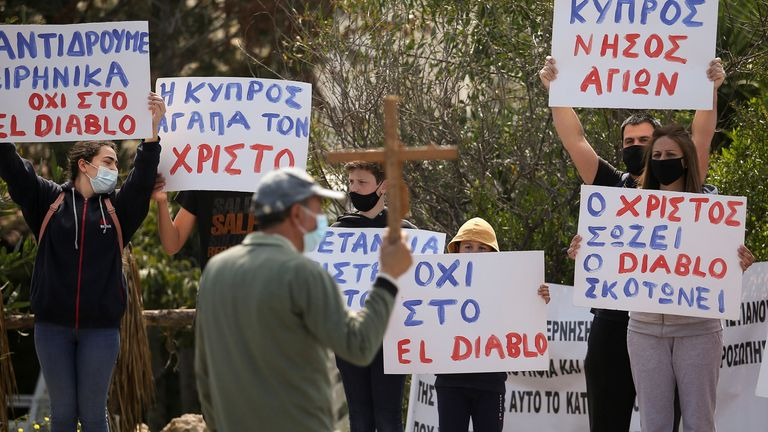 People protested outside Cyprus Broadcasting Corporation in Nicosia