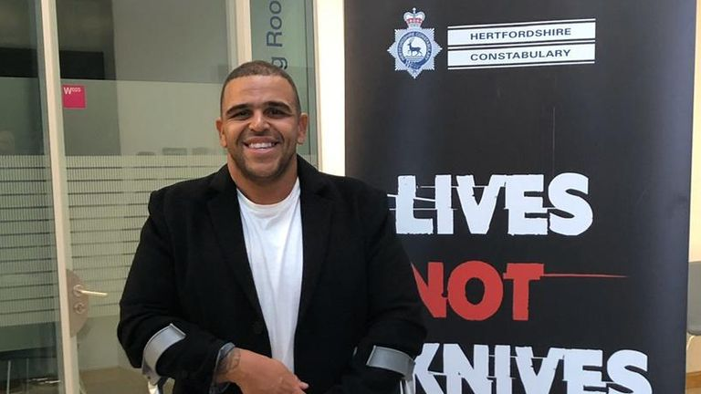 Darren Awol spoke about his experience at a Hertfordshire Police event