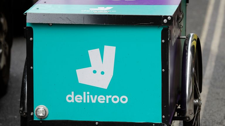 Deliveroo riders are to be rewarded with cash payouts of up to £10,000 on the day of the listing. Pic: AP