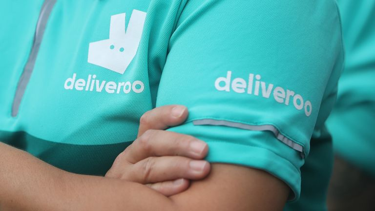 Stock photo of Deliveroo runners protesting violent attacks against them during a demonstration.  Photo date: Wednesday, September 2, 2020.
