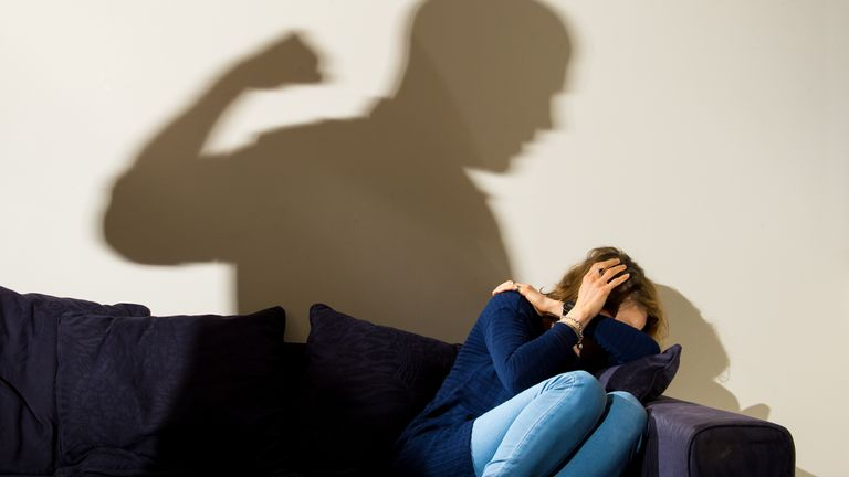 PICTURE POSED BY MODEL File photo dated 09/03/15 of a shadow of a man with a clenched fist as a woman cowers in the corner. Reports of children living in homes affected by domestic abuse have increased more than 30 percent since the start of the pandemic, a charity has said.