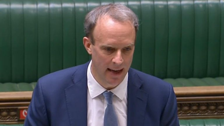 Foreign Secretary Dominic Raab giving a statement in the House of Commons