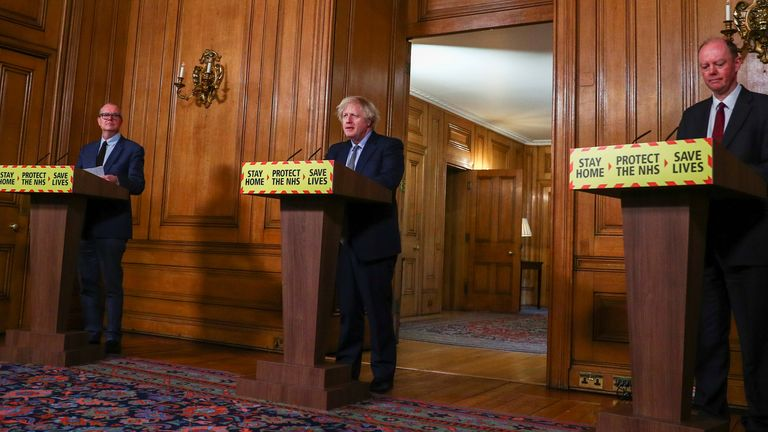 (left to right) Chief scientific adviser Sir Patrick Vallance, Prime Minister Boris Johnson and Chief Medical Officer Professor Chris Whitty, during a media briefing in Downing Street, London, on coronavirus (Covid-19). Picture date: Tuesday March 23, 2021.