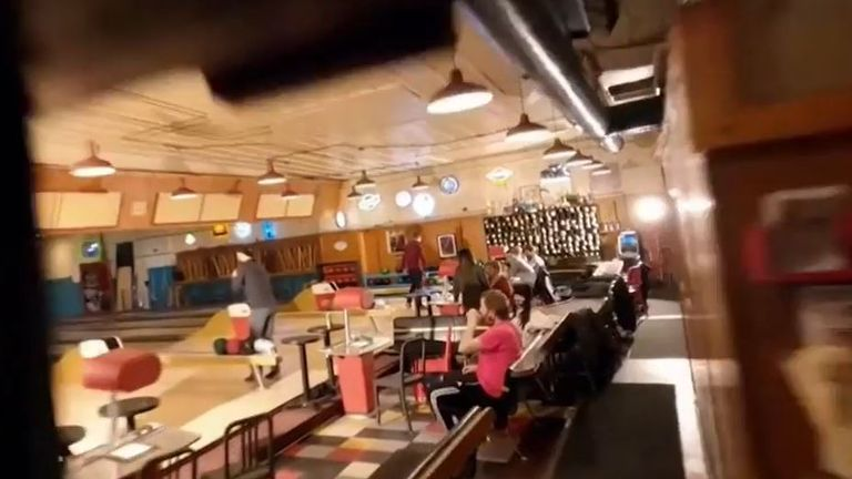 Drone makes several sweeps of bowling alley