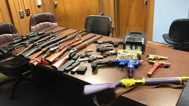 Guns were seized during a drugs raid