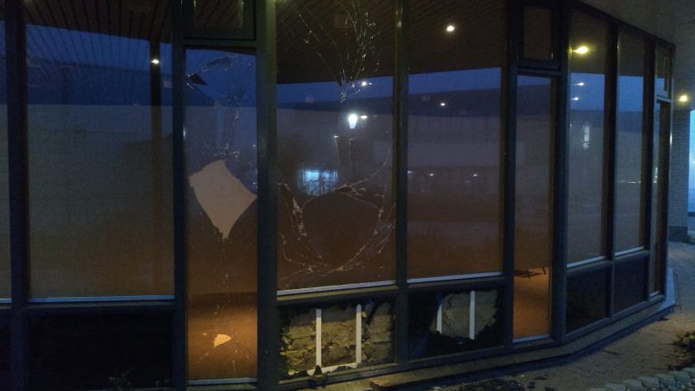 There were no injuries in the explosion, but there was damage to the building. Pic: Dutch Police