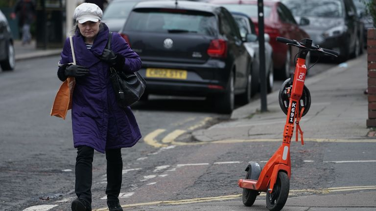 An e-scooter in Jesmond, Newcastle