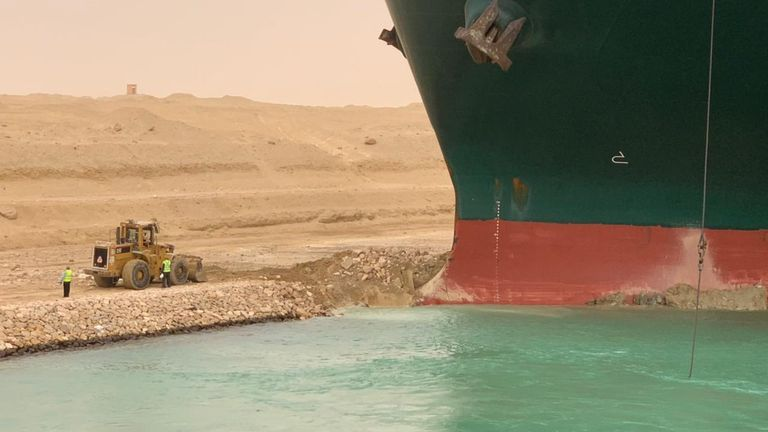 A large shipping container has blocked Egypt's Suez Canal, causing a traffic jam of ships, vessel tracking websites show. Pic: Suez Canal Authority