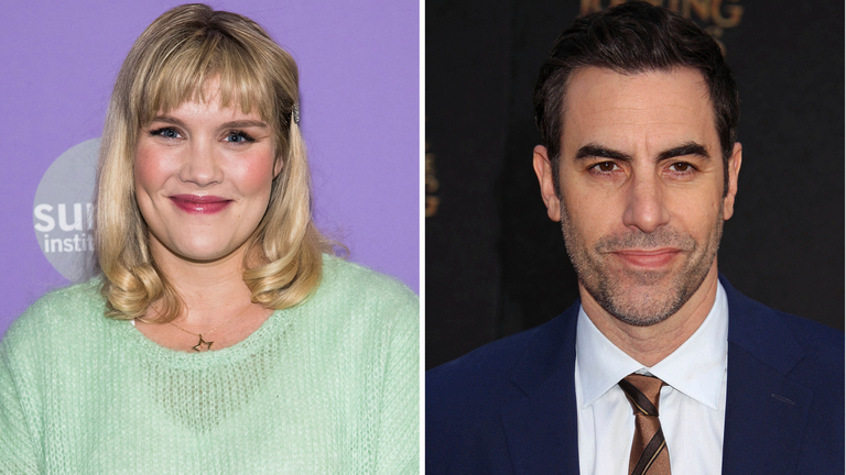 Emerald Fennell and Sacha Baron Cohen won at the Writers Guild Awards. Pic: AP