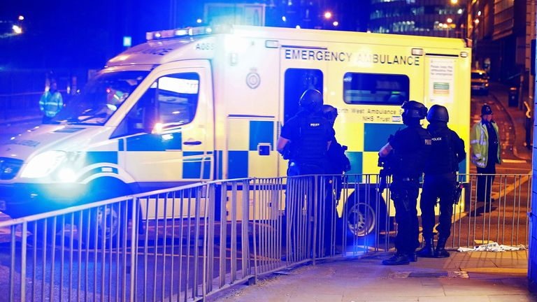 Emergency services at the scene of the Manchester Arena bombing
