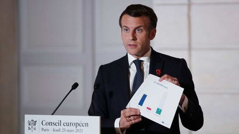 French President Emmanuel Macron is among those who supports blocking all vaccine exports