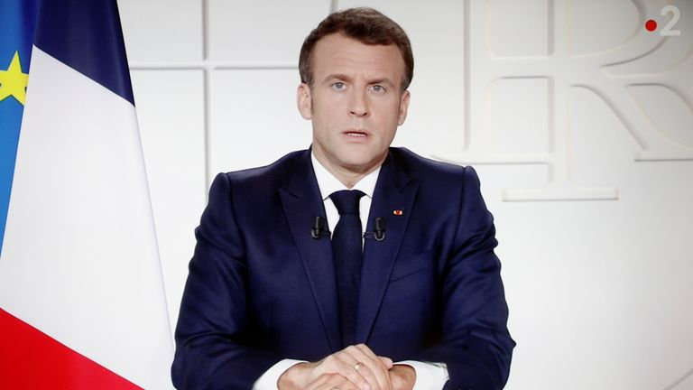 French President Emmanuel Macron addresses the nation