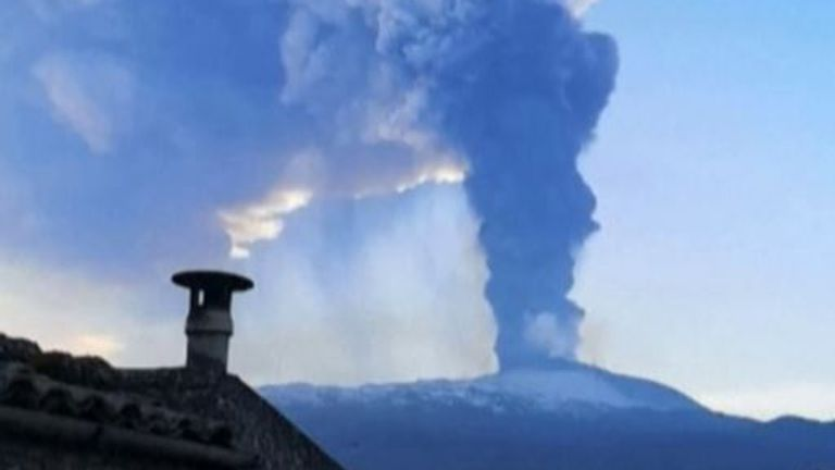 Etna spews ash skyward in Sicily