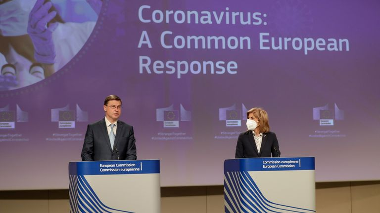 European commissioner for health and food safety Stella Kyriakides and vice-president Valdis Dombrovskis