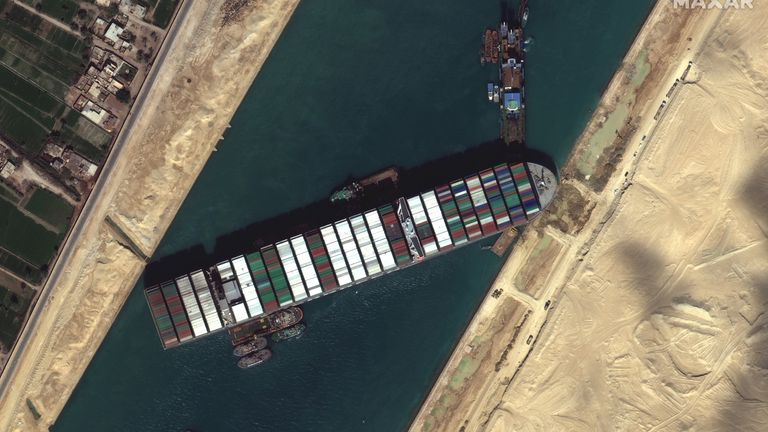 New images of the Ever Given ship stuck in the Suez Canal. Satellite image ©2021 Maxar Technologies
