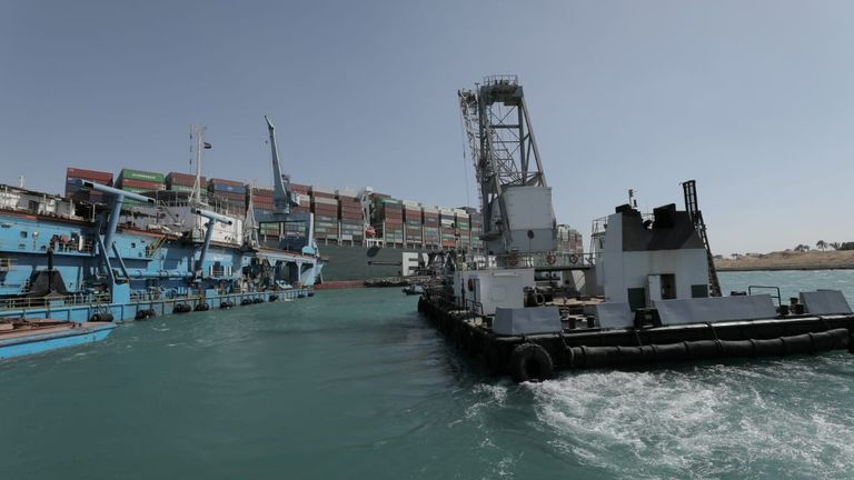 Stranded ship Ever Given, one of the world's largest container ships, is seen after it ran aground, in Suez Canal, Egypt