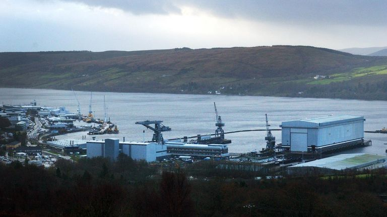 Faslane nuclear base, home to Trident nuclear submarines. File pic