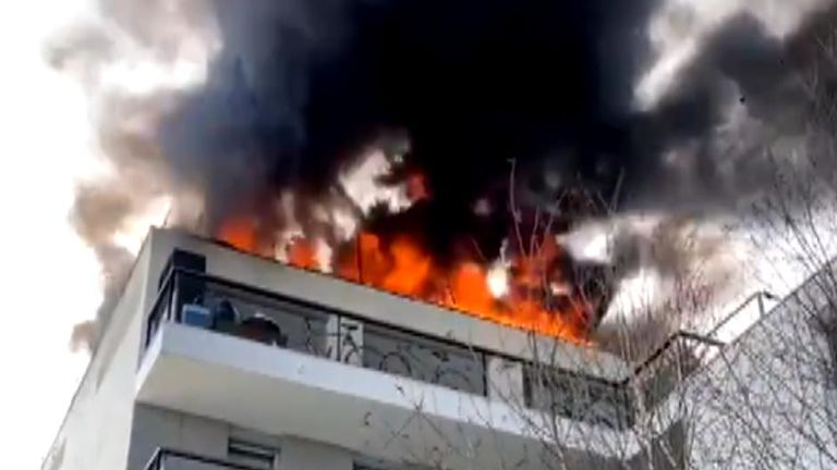 A fire tore across the roof of a building in Bordeaux, France, on March 1, according to local reports.