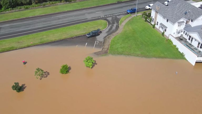 A still image taken from video shows a flooded area following heavy rains in Port Macquarie