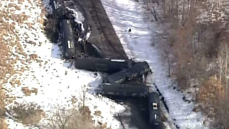 Several freight train cars were derailed in Plymouth, Minnesota.