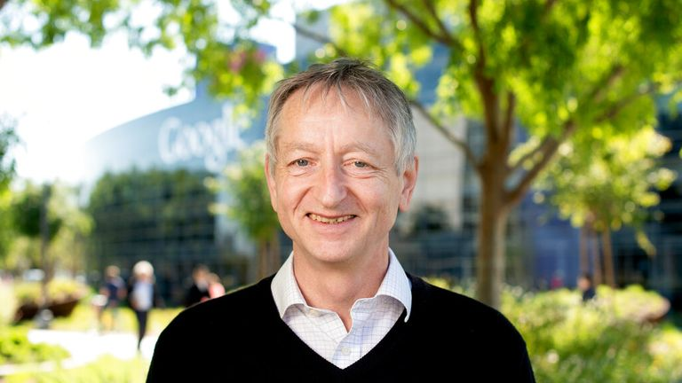 Computer scientist Geoffrey Hinton, who studies neural networks used in artificial intelligence applications, poses at Google's Mountain View, Calif, headquarters on Wednesday, March 25, 2015. (AP Photo/Noah Berger)