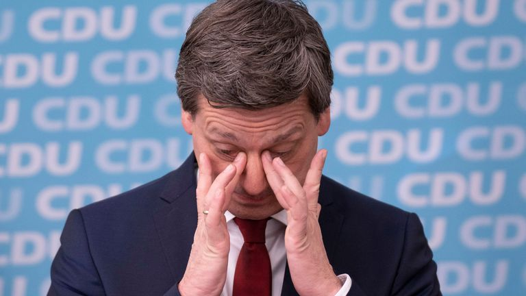 Christian Baldauf, the top CDU candidate in Rhineland-Palatinate, reacted as results came in