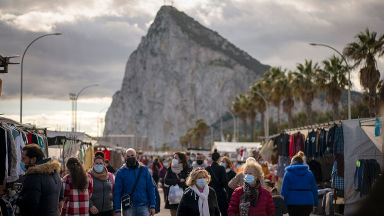 The weekly market at the Spanish city of La Linea on Gibraltar in January
