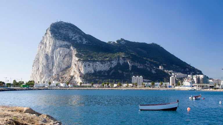 An up close shot of Gibraltar from La Linea, Spain.