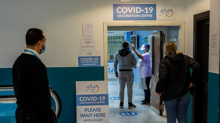 People queuing for COVID-19 vaccinations in Gibraltar. Pic: AP