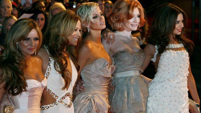 Sarah Harding, centre, with the rest of Girls Aloud in 2009
