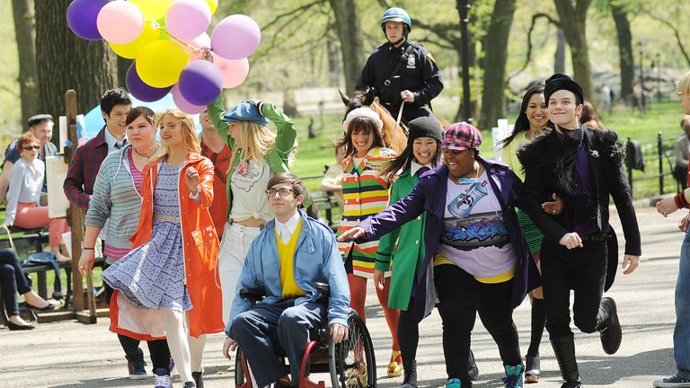 The cast of Glee will pay tribute to co-star Naya Rivera (second from the right). Pic: Startraks/Shutterstock