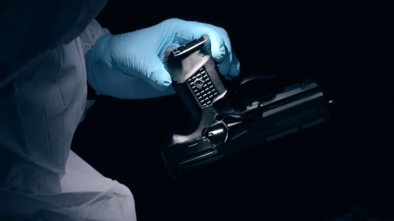 A Glock handgun is examined by Greater Manchester Police. Pic: BBC/Minnow Films