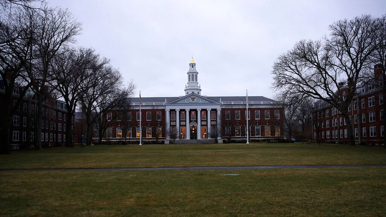 The Baker Library at the Harvard Business School on the campus of Harvard University in Cambridge, Mass., Tuesday, March 7, 2017. (AP Photo/Charles Krupa)..