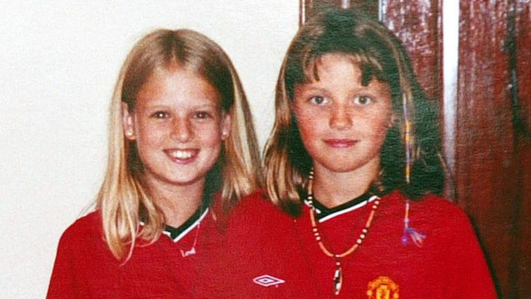 A police handout photograph shows murdered Cambridgeshire schoolgirls Holly Wells (L) and Jessica Chapman, in the Manchester United football club shirts they were wearing on August 4, 2002, when they were last seen near Holly's home in Soham. School caretaker Ian Huntley was found guilty December 17, 2003, of murdering the 10-year-olds then stripping and burning their bodies and dumping them in woodland. REUTERS/HO JB/JDP