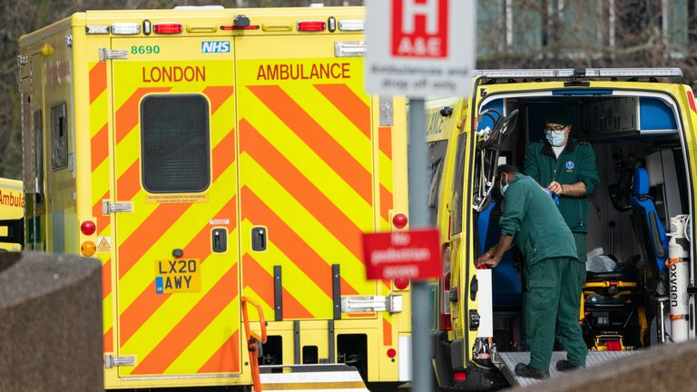 Paramedics and ambulances outside St Thomas' Hospital in central London