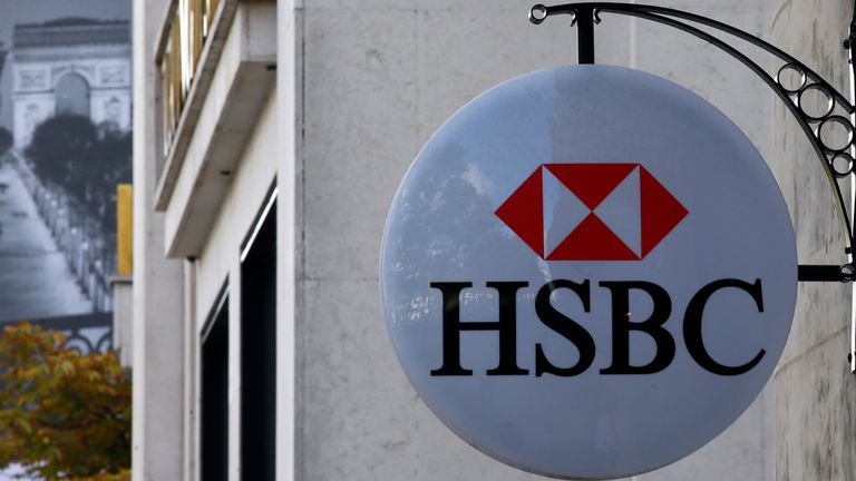 A branch of HSBC in Paris is shown as the UK-based lender prepares to pull out of France. Pic: AP