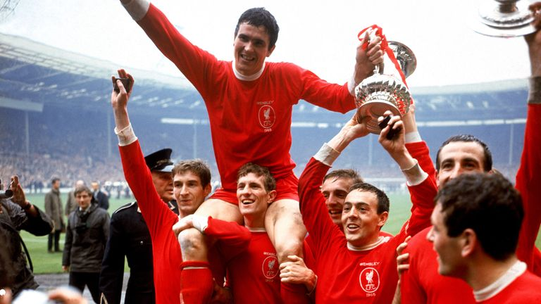 Ian St John (third from right) with the FA Cup in 1965