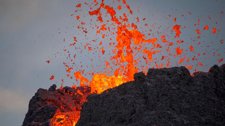 Hot lava bubbled and spurted