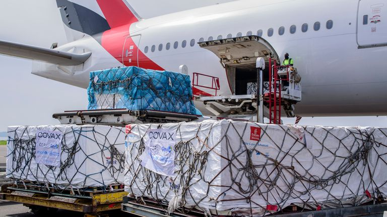 Uganda's first consignment of SII-made AstraZeneca vaccine provided through COVAX arrives at the Entebbe airport, earlier in March