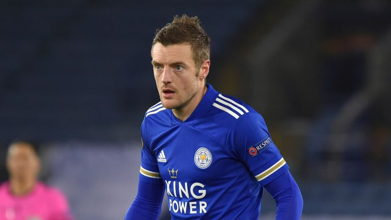 Leicester City's Jamie Vardy during a match against Slavia Prague at the King Power Stadium in Leicester. Pic: AP