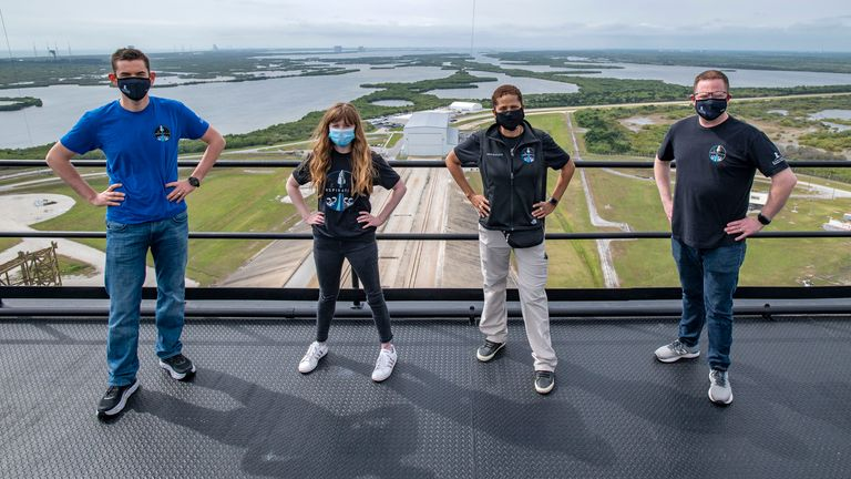 (L-R) Jared Isaacman, Hayley Arceneaux, Sian Proctor and Chris Sembroski. Pic: AP