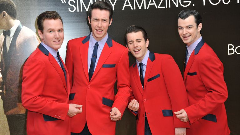 The 2014 West End cast of fan favourite Jersey Boys. Pic: Jon Furniss/Invision via AP