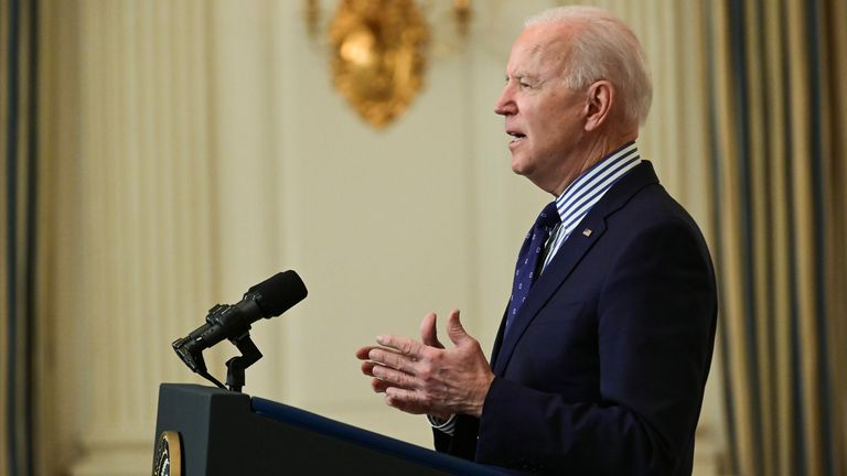 U.S. President Joe Biden makes remarks from the White House after his coronavirus pandemic relief legislation passed in the Senate, in Washington, U.S. March 6, 2021. REUTERS/Erin Scott