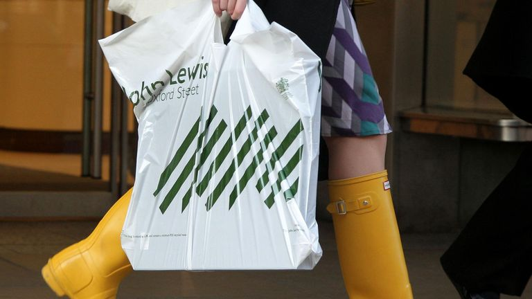 File photo dated 16/01/12 of a shopper carrying a John Lewis bag