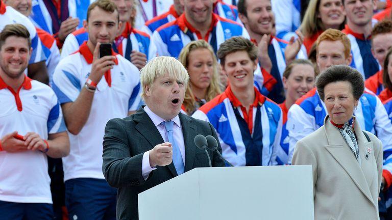 Britain's Princess Anne (R) and athletes react as London Mayor Boris Johnson (L) speaks during a parade of British Olympic and Paralympic athletes in London September 10, 2012