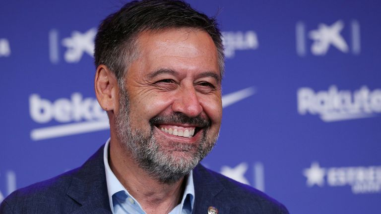 Josep Maria Bartomeu, pictured last summer as FC Barcelona unveiled the signing of Pedri