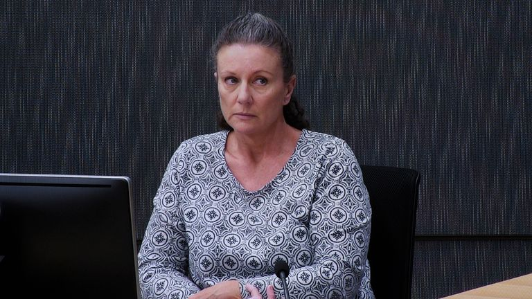 Kathleen Folbigg appears via video link during a convictions inquiry at the New South Wales Coroners Court, in Sydney, in 2019. Pic: AP