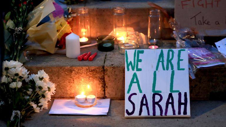 Candles, messages and flowers left on the steps of the Parkinson Building at the University of Leeds in West Yorkshire, during a Reclaim These Streets vigil for Sarah Everard.