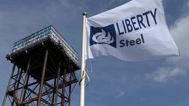 The Liberty Steel flag flies over the steel plant in Dalzell, Scotland (file pic)