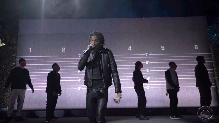 Lil Baby performing The Bigger Picture at the Grammys. Pic: CBS/Recording Academy via AP